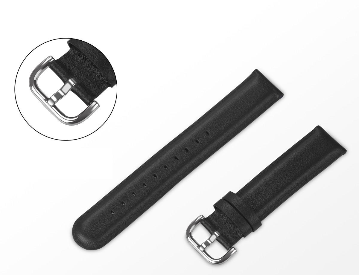 Ремешок для Amazfit BIP | Bip Lite | GTS | GTS 2 | Gtr 42mm кожаный 20мм размер L Черный BeWatch (1220101)