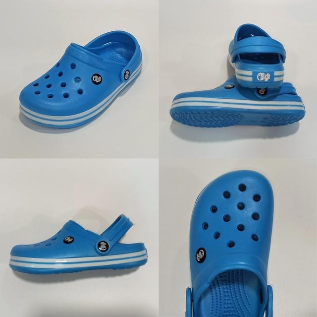 Детские кроксы Calypso, голубо-белые фото