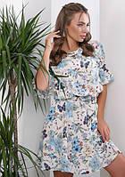 Женское платье летнее молочное с принтом бабочки и цветы Размеры 42-44 50-52