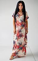 Длинное платье свободным кроем с оригинальным принтом, фото 1