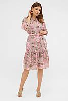 Платье из шифона на лето бежевое с цветами. Женская летняя одежда.