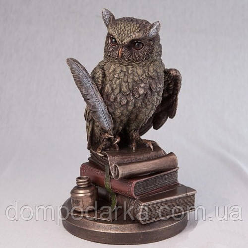 """Статуэтка """"Мудрейшая Сова"""" на книгах из полистоуна Veronese с бронзовым напылением размер 23 см"""