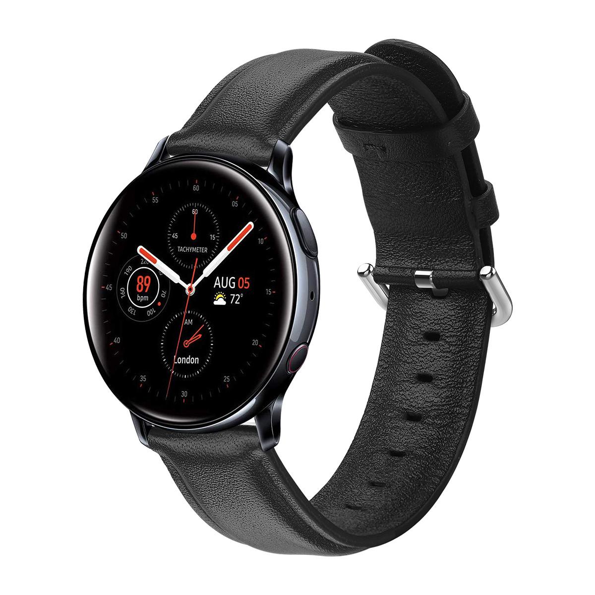 Ремешок кожаный 20мм BeWatch для Samsung Active| Active 2 | Galaxy watch 42 mm L Черный