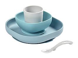 Набір силіконових посуду (4 предмета) 4 м + Beaba - блакитний / сірий , арт. 913472