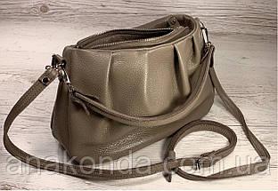 674 Натуральная кожа, Сумка женская кофейная кожаная коричневая бежевая женская сумка мягкая коричневая, фото 3