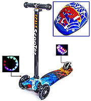 + Шлем +Детский самокат с защитой Макси Scale Sports Огонь и лёд Светящиеся колеса от 3-х лет