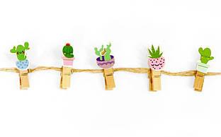 Прищіпки 10 штук з мотузкою 3,5 см, кактуси