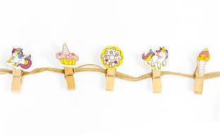 Прищіпки 10 шт з мотузкою 3,5 см, Десерти і єдинороги