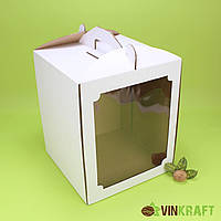 Коробка 300*300*300  для торта с окном, гофракартон