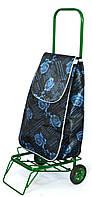 Усиленная хозяйственная сумка - тележка на колесах с подшипниками (Роза/голубой), фото 1