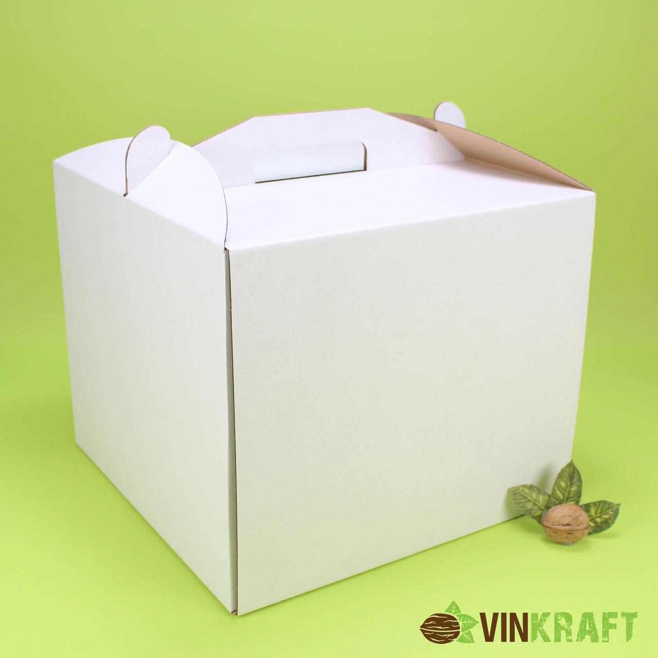 Коробка 300*300*250 для торта з ручками, гофрокартон