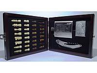 I6-39 Набір у дерев'яній скриньці: шахи + фляга + запальничка + ножа/штопор. (Малий), фото 1