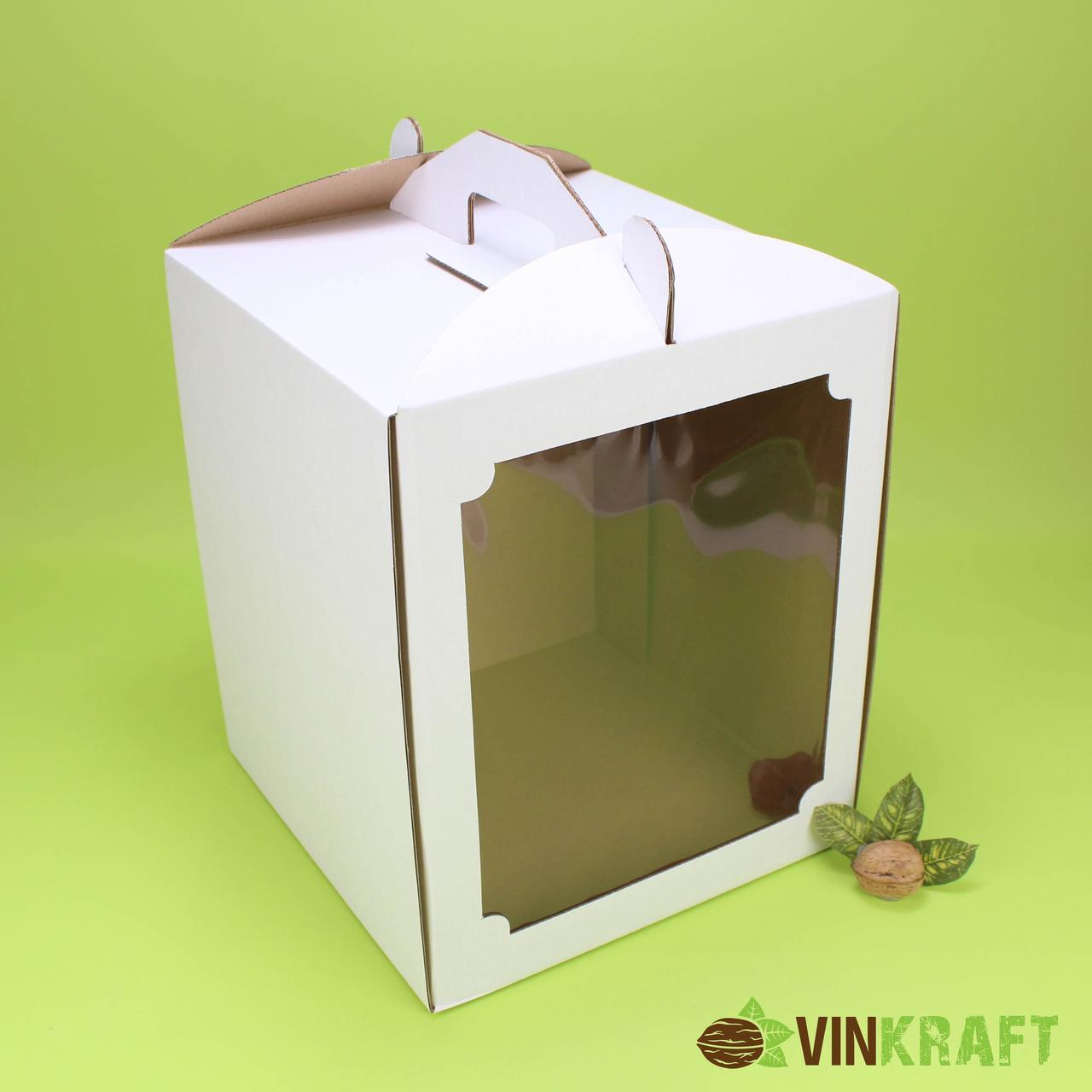 Коробка 300*300*250  для торта с окном, гофракартон
