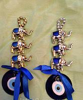 Сувенир оберег денежный - Турецкий глаз со слонами, длина 14 см.