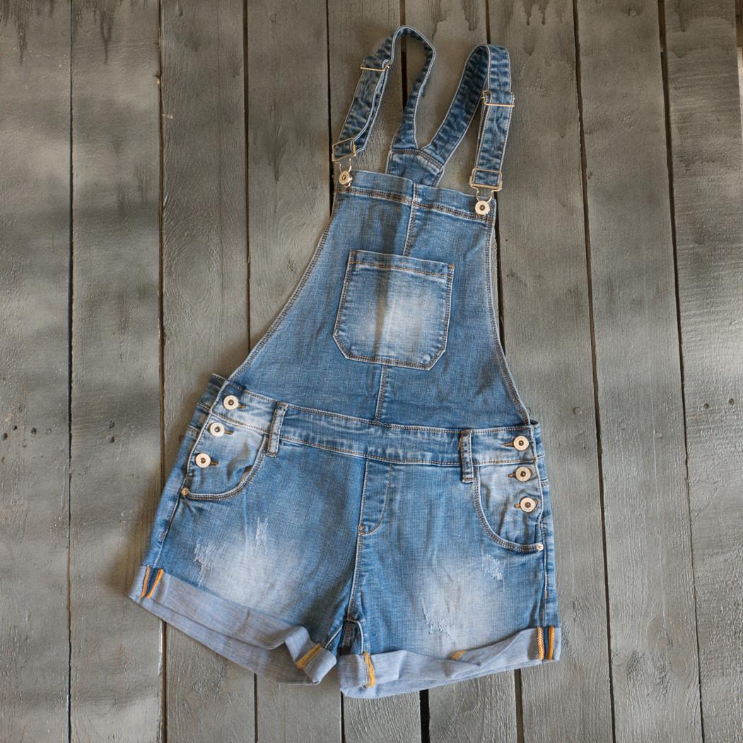 8233 Vanver комбінезон-шорти жіночий джинсовий синій весняний стрейчевий (25-30, 6 од.)
