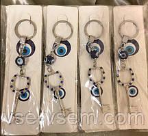 Брелок оберег Глаз Фатимы (Турецкий глаз) Серебряный ключ денежный, длина 14 см