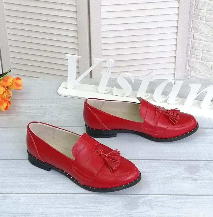 Червоні шкіряні туфлі на низькому ходу
