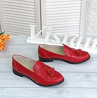 Червоні шкіряні туфлі на низькому ходу, фото 1