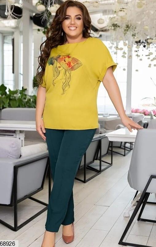 Летний костюм-двойка большого размера с блузой размер: 48-50, 52-54, 56-58