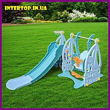 Дитячий пластиковий ігровий комплекс 2 в 1 гірка з кільцем + гойдалка Bambi WM19016 блакитний для будинку
