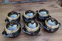 """Горшочки для запекания в духовке 6 шт из керамики """"Плетенка"""" двухцветная 550 мл"""