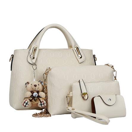 Женская сумка набор 4в1 из экокожи с брелочком бежевый, фото 2