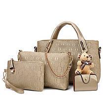 Женская сумка набор 4в1 из экокожи с брелочком бежевый, фото 3