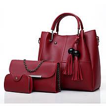 Набор женских сумок 3в1 с косточками розовый из качественной экокожи, фото 3