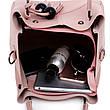 Набор женских сумок 3в1 с косточками розовый из качественной экокожи, фото 4
