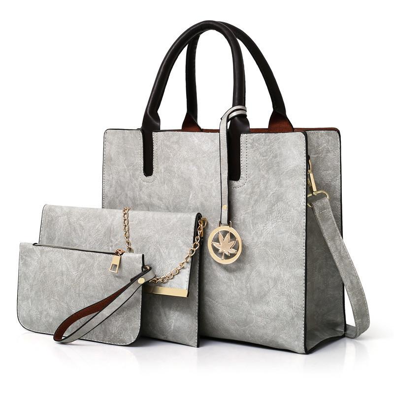 Женская сумка из экокожи набор 3в1 с брелочком серый