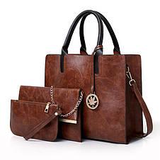 Женская сумка из экокожи набор 3в1 с брелочком серый, фото 3