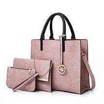 Женская сумка из экокожи набор 3в1 с брелочком серый, фото 2