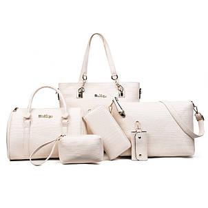 Женская сумка из экокожи набор 5в1 молочного цвета, фото 2
