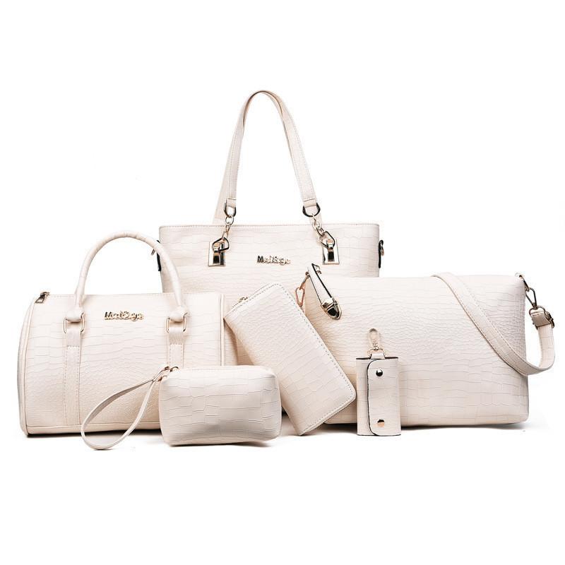 Женская сумка из экокожи набор 5в1 молочного цвета