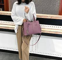 Сумка фиолетовая набор 3в1 с брелочком, фото 3