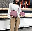 Сумка фиолетовая набор 3в1 с брелочком, фото 2