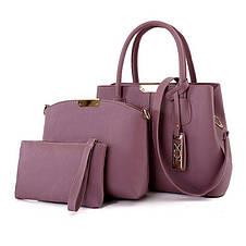 Красная женская сумка набор 3в1 из экокожи, фото 3