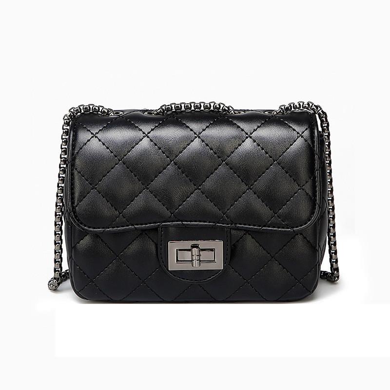 Женская стеганная черная сумка из экокожи