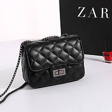 Женская стеганная черная сумка из экокожи, фото 2