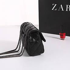 Женская стеганная черная сумка из экокожи, фото 3