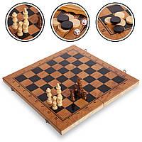Брак! Шахматы, шашки, нарды 3 в 1 деревянные, фигуры-дерево, р-р 29x29см. (S3029-брак1)