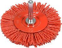 Щетка дисковая зачистная с нейлона для дрели Ø75 мм 4500 об/мин с хвостовиком Ø6 мм YATO YT-47791