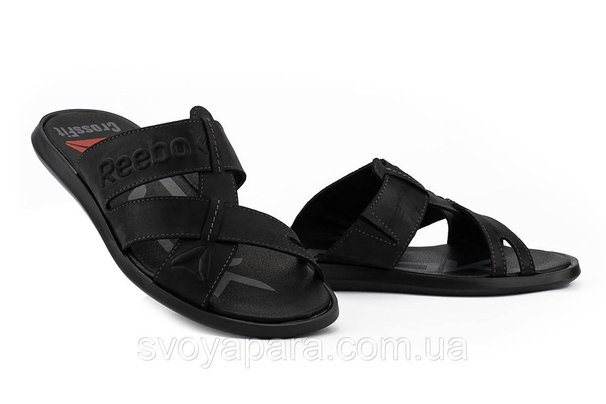 Мужские шлепанцы кожаные летние черные Anser Crossfit R33 Black