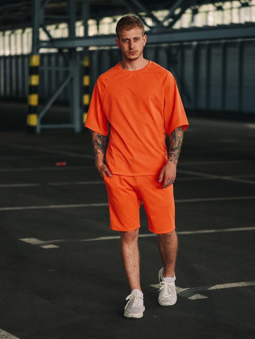 Футболка оверсайз + шорты. Стильный мужской комплект. Футболка реглан.