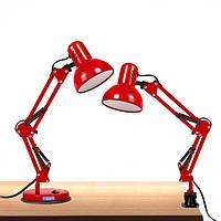 Настольная лампа с подставкой и струбциной под лампу E27 красная LOGA L-305, фото 1