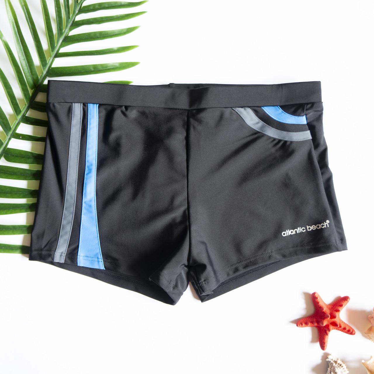 Мужские плавки шорты Черный/Голубой/Серый