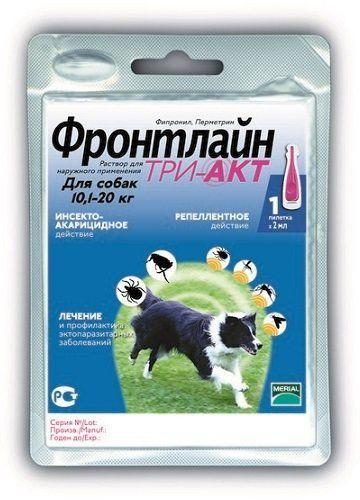 ФРОНТЛАЙН ТРИ-АКТ для собак 10-20 кг FRONTLINE TRI-ACT капли от клещей, блох и комаров, 1 пипетка