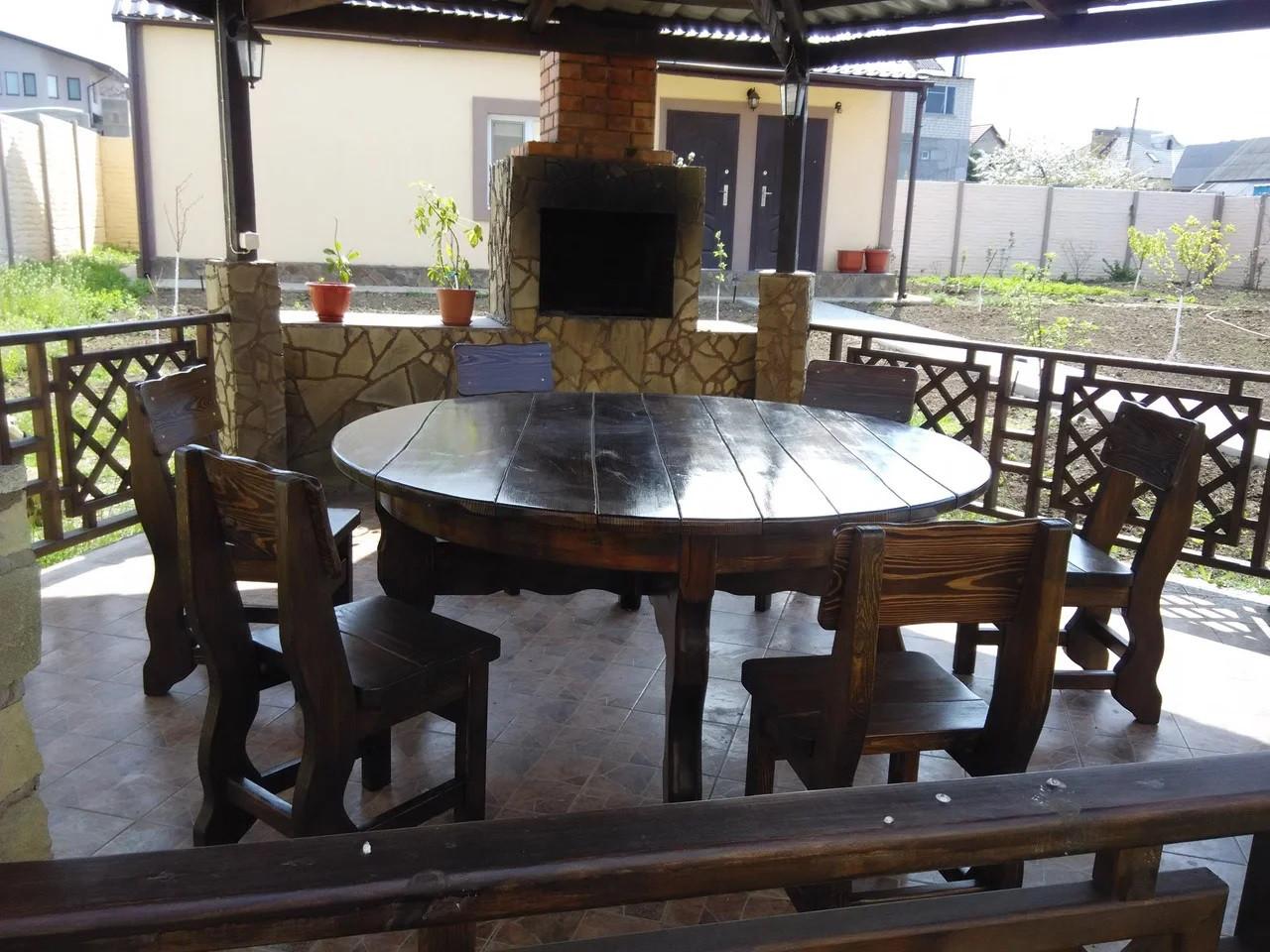 Деревянный стол 1700х770 мм под старину ручной работы для кафе, дачи от производителя. Wood Table 21