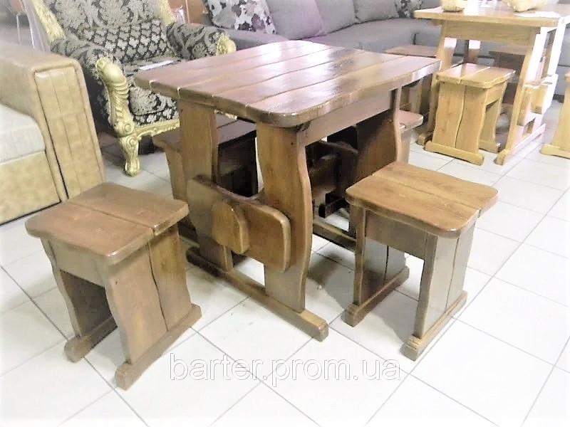 Деревянный стол 900х900 мм из массива сосны ручной работы для кафе, дачи от производителя. Wood Table 01
