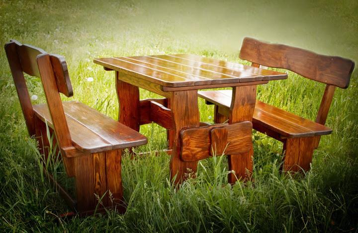 Садовая мебель из массива дерева 1700х800 от производителя для дачи, баров, комплект Furniture set - 19